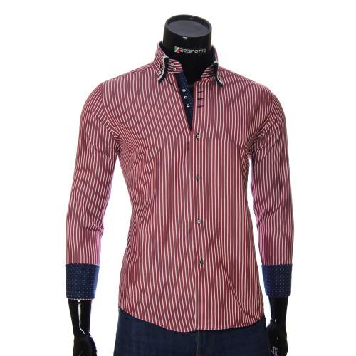 Мужская приталенная рубашка в полоску AJB 1945-16