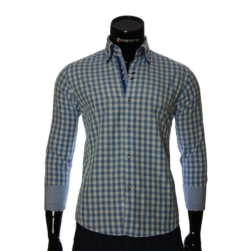 Мужская приталенная рубашка в клетку AJB 1945-17