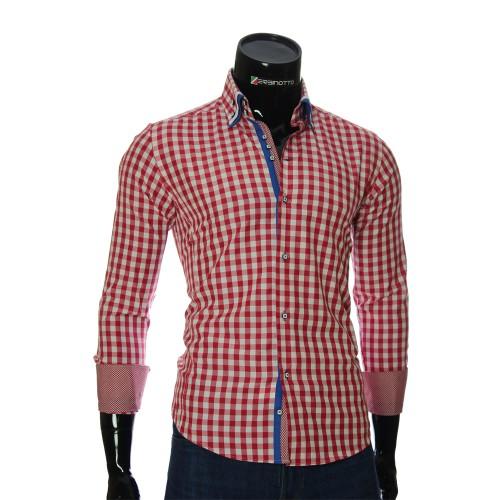 Мужская приталенная рубашка в клетку AJB 1945-18