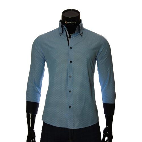 Мужская приталенная рубашка в узор AJB 1945-19