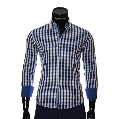 Мужская приталенная рубашка в клетку AJB 1945-4