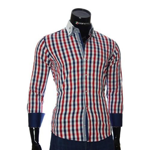 Мужская приталенная рубашка в клетку AJB 1945-5