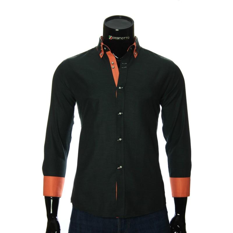 Мужская однотонная приталенная рубашка MM 1959-1