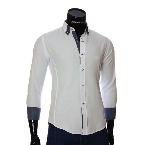 Мужская однотонная приталенная рубашка MM 1959-2