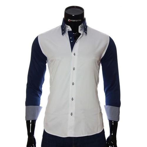 Мужская однотонная приталенная рубашка MM 1901-3