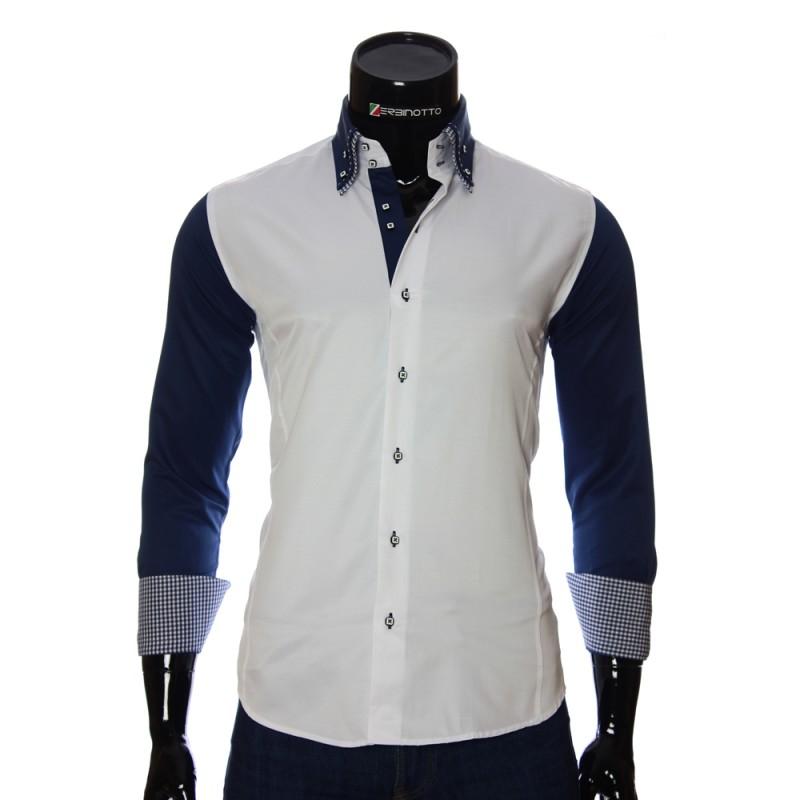 6e72f31e21e0074 Men's white shirt with bicolour sleeves and double collar.
