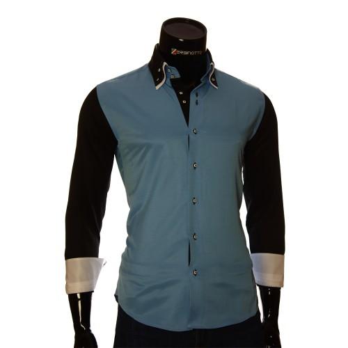 Мужская однотонная приталенная рубашка MM 1901-5