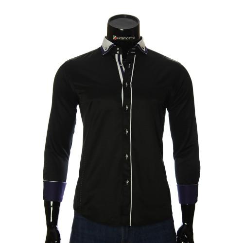 Мужская однотонная приталенная рубашка MM 1917-2