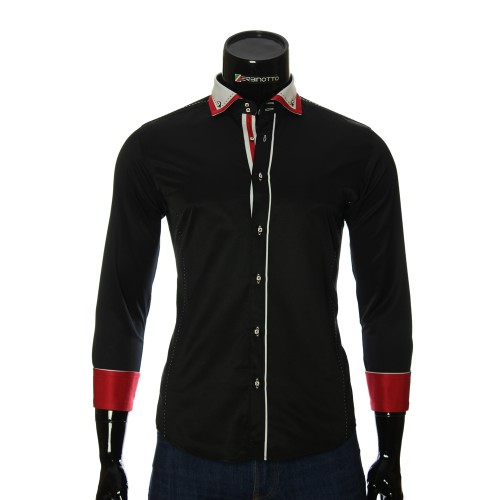 Мужская однотонная приталенная рубашка MM 1917-3
