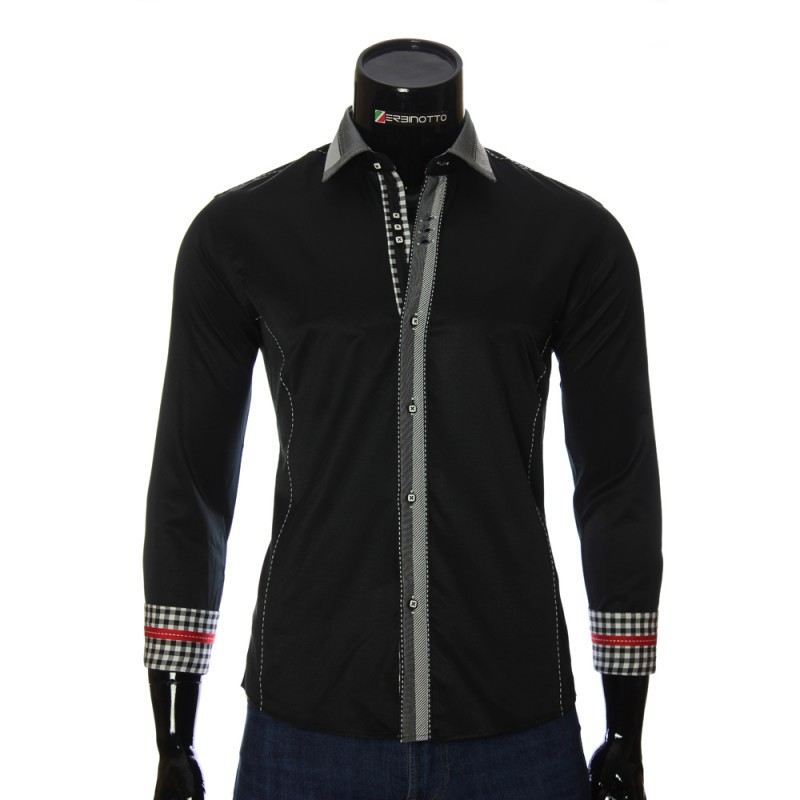 Мужская однотонная приталенная рубашка MM 1937-2