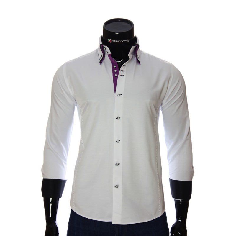 Мужская однотонная приталенная рубашка MM 1960-2