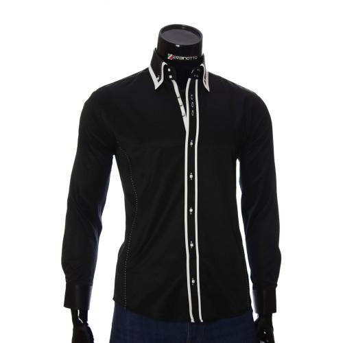 Мужская однотонная приталенная рубашка MM 1961-1