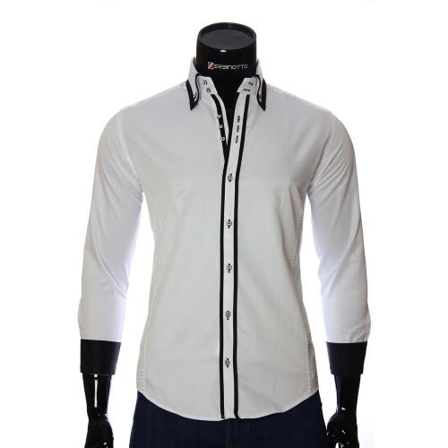 Мужская однотонная приталенная рубашка MM 1961-2