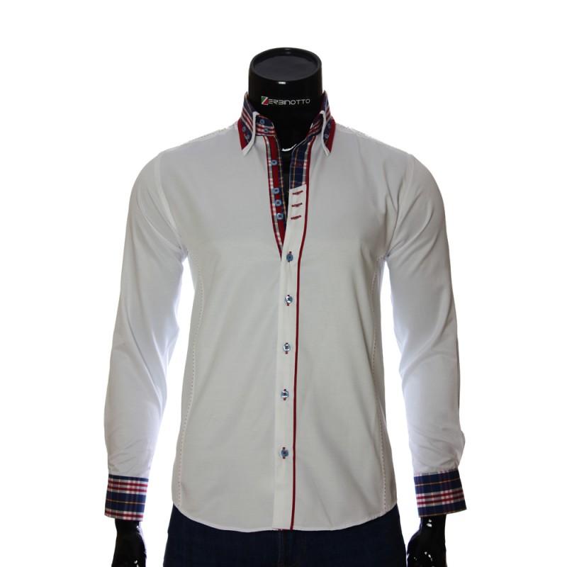 Мужская однотонная приталенная рубашка MM 1964-5