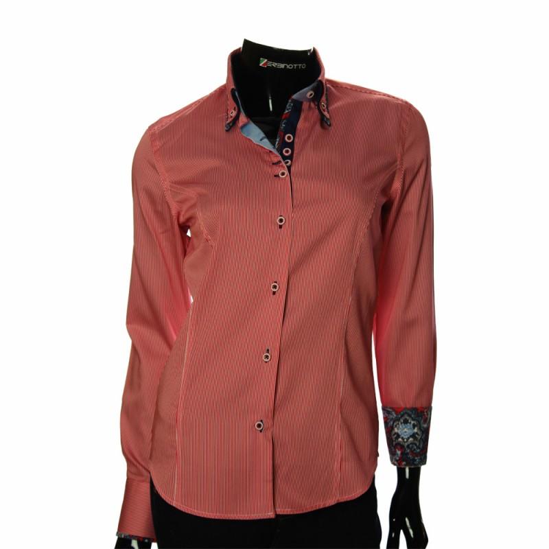 ffb5f1abf0c3 Женская красная рубашка в полоску с двойным воротником.