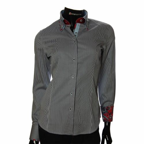 Женская приталенная рубашка в полоску IMK 1029-2