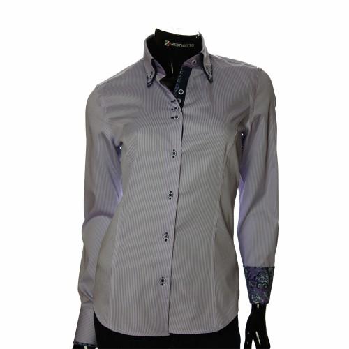 Женская приталенная рубашка в полоску IMK 1029-3