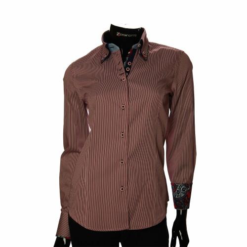 Жіноча приталена сорочка у смужку IMK 1029-4