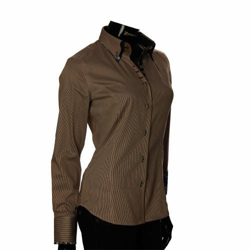 Женская приталенная рубашка в полоску IMK 1029-5