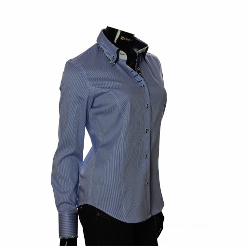 Женская приталенная рубашка в полоску IMK 1029-6