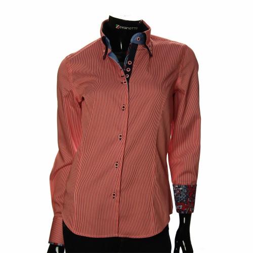 Женская приталенная рубашка в полоску IMK 1029-7