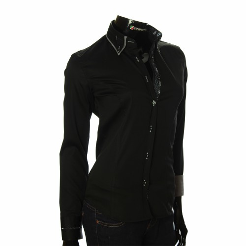 Женская однотонная приталенная рубашка DMN 1023-1