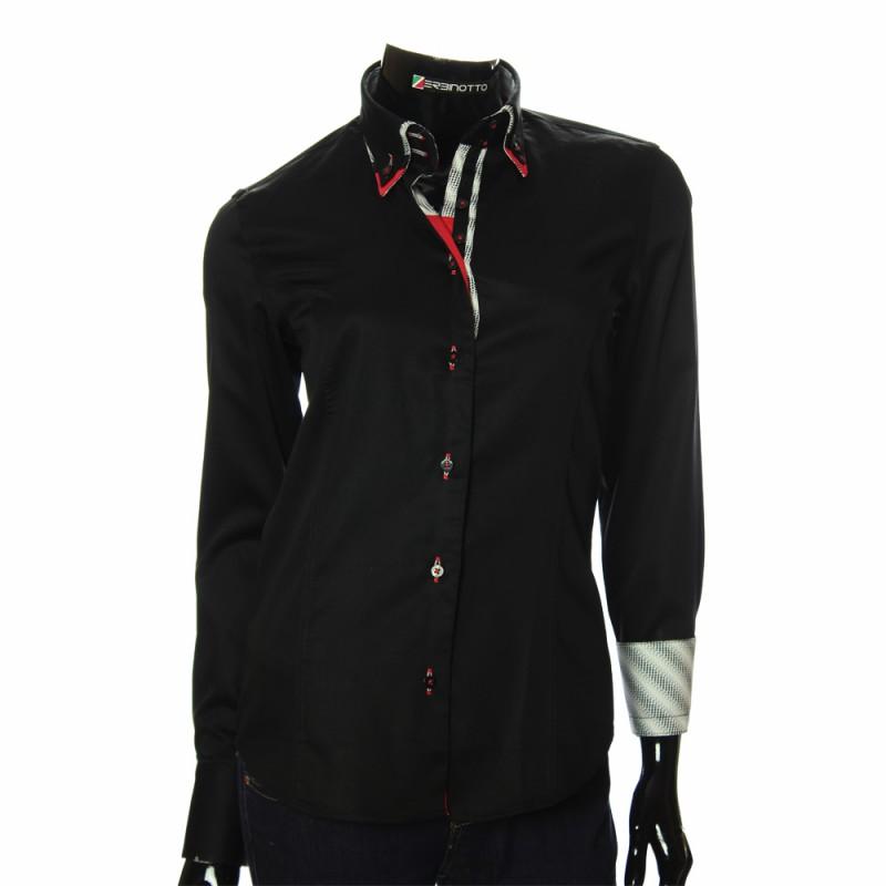 Женская однотонная приталенная рубашка DMN 1025-2
