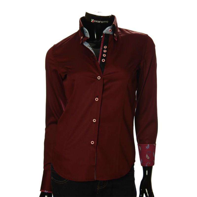 986af6e40ad8 Женская брендовая рубашка бордового цвета с двойным воротником.