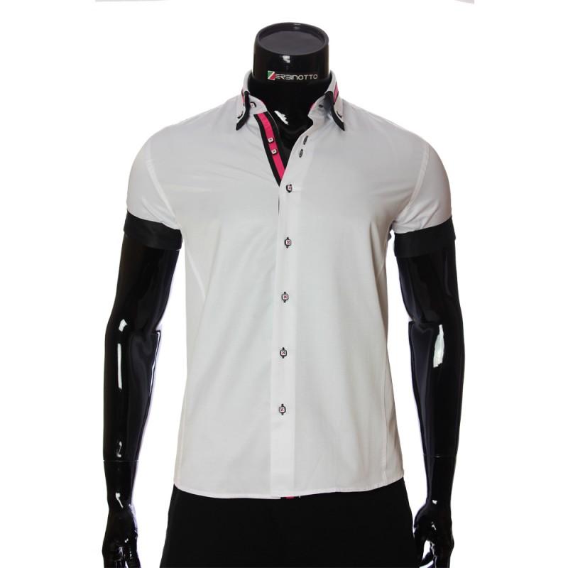 Мужская однотонная рубашка с коротким рукавом MM 919-1