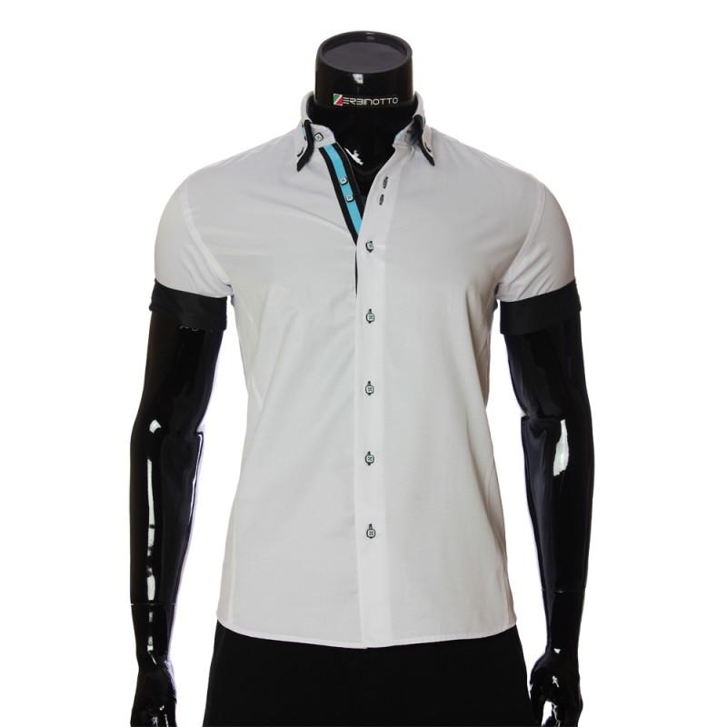 Мужская однотонная рубашка с коротким рукавом MM 919-5