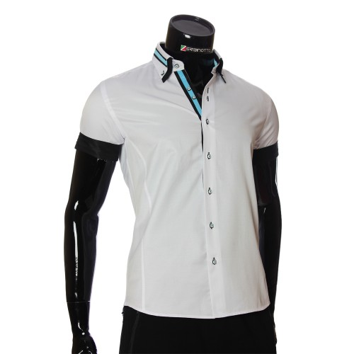 Men`s Slim Fit plain shirt with short sleeve MM 919-5