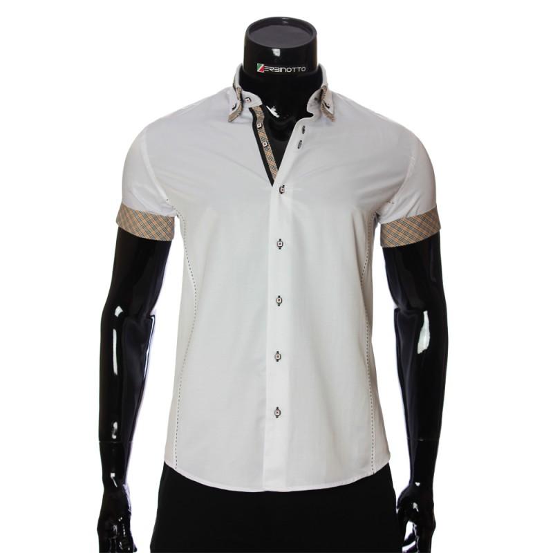 5c91884e1f9358a Мужская белая рубашка с коротким рукавом с двойным воротником 923-2.