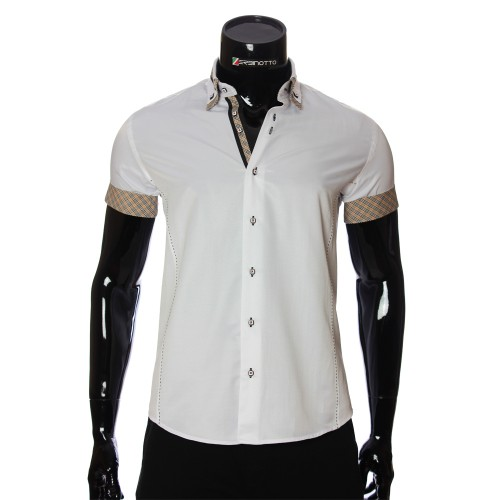 Men`s Slim Fit plain shirt with short sleeve MM 923-2