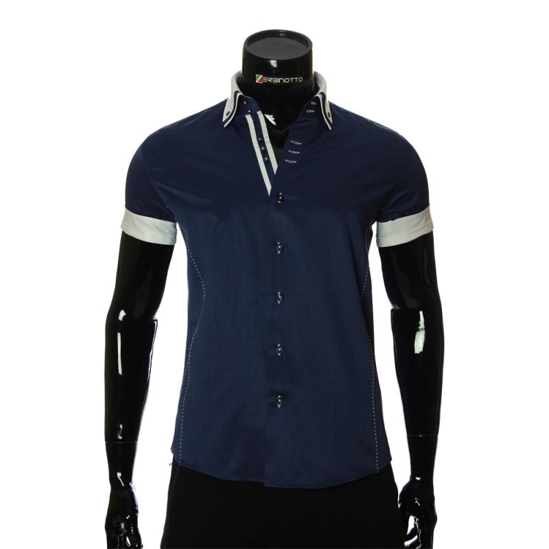 Мужская однотонная рубашка с коротким рукавом MM 925-1