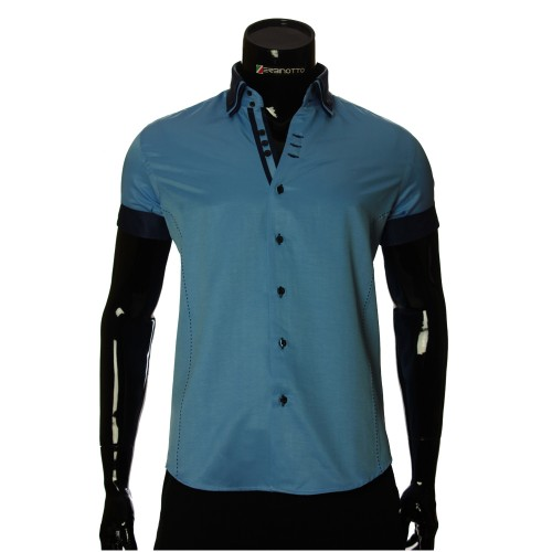 Men`s Slim Fit plain shirt with short sleeve MM 925-3