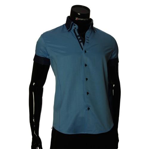 Мужская однотонная рубашка с коротким рукавом MM 925-3