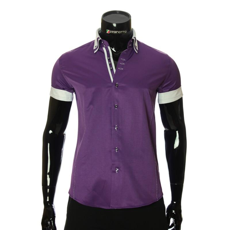 Мужская однотонная рубашка с коротким рукавом MM 925-4