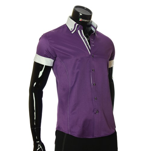 Men`s Slim Fit plain shirt with short sleeve MM 925-4