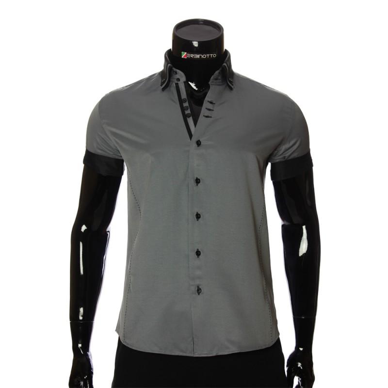 Мужская однотонная рубашка с коротким рукавом MM 925-5