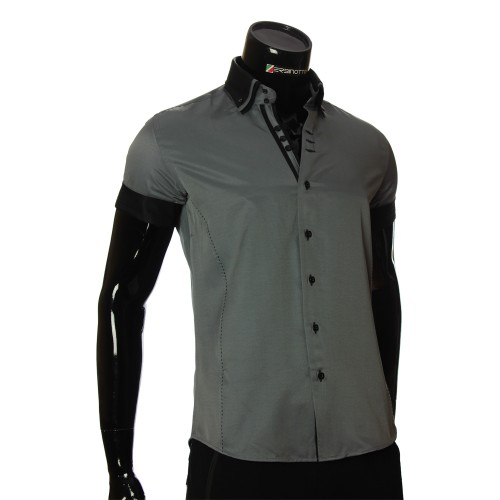 Men`s Slim Fit plain shirt with short sleeve MM 925-5