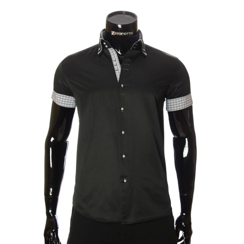 Men`s Slim Fit plain shirt with short sleeve MM 925-8