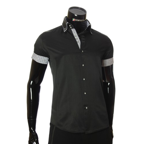 Men`s Slim Fit plain shirt with short sleeve MM 925-8