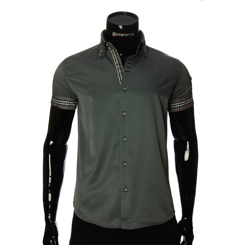 Men`s Slim Fit plain shirt with short sleeve MM 925-6