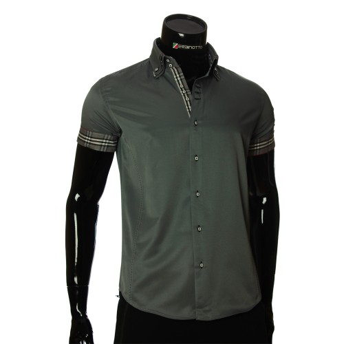 Men`s Slim Fit plain shirt with short sleeve MM 925-6