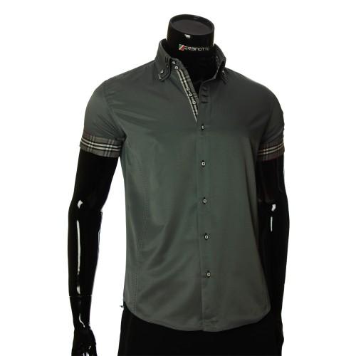 Мужская однотонная рубашка с коротким рукавом MM 925-6