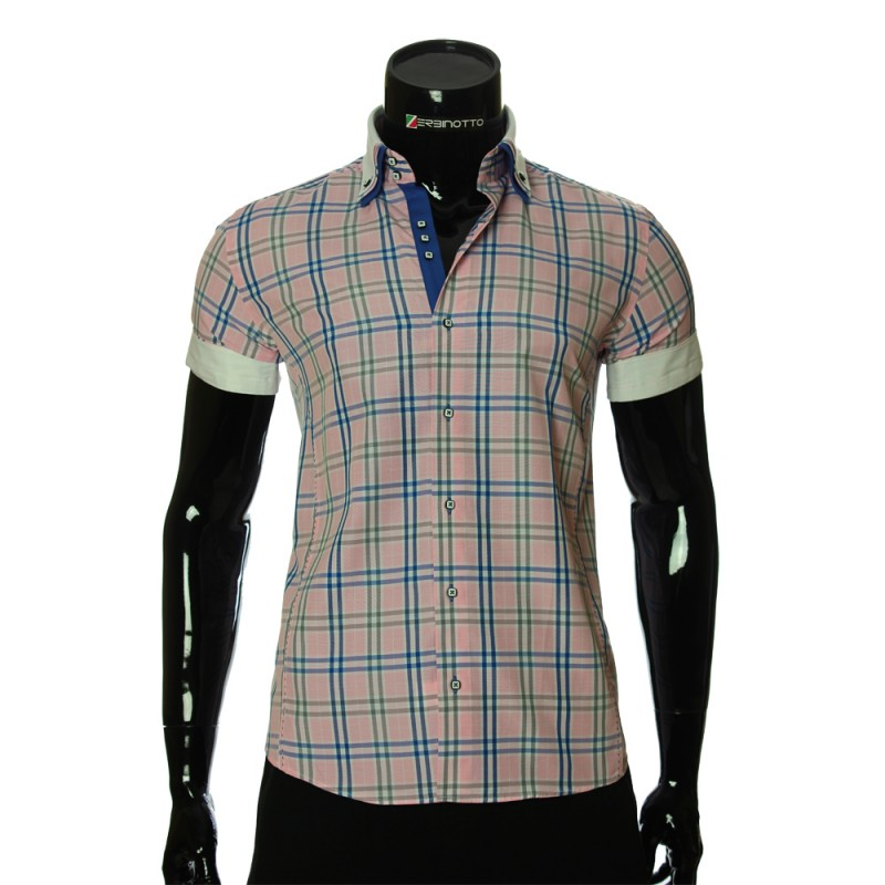 Men`s Slim Fit plaid shirt with short sleeve MM 925-9