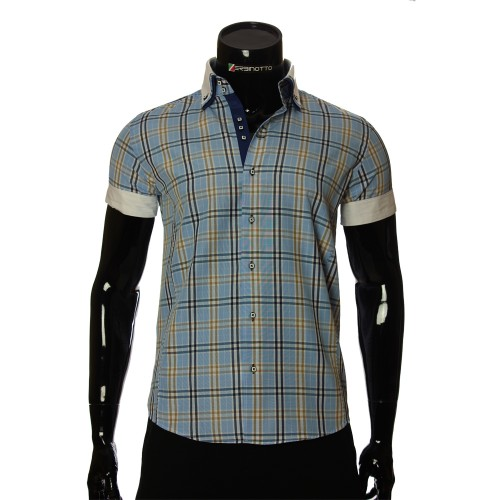 Men`s Slim Fit plaid shirt with short sleeve MM 925-4