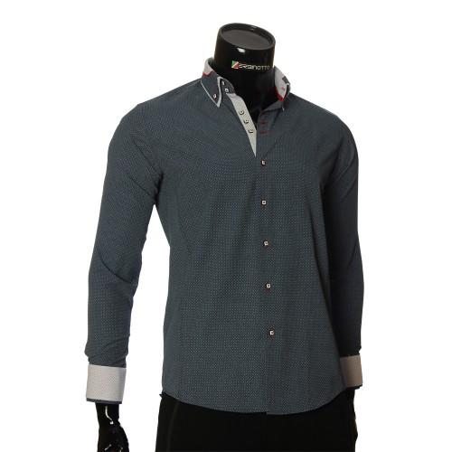 Мужская приталенная рубашка в узор MM 1966-2