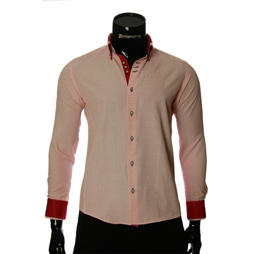 Чоловіча приталена сорочка у візерунок MM 1966-4