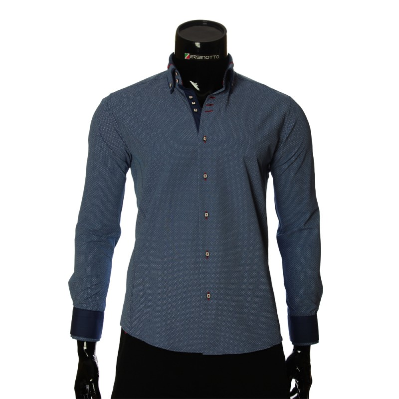 bd5670a1ba3f Men`s brand shirt blue color with double collar and long sleeve.